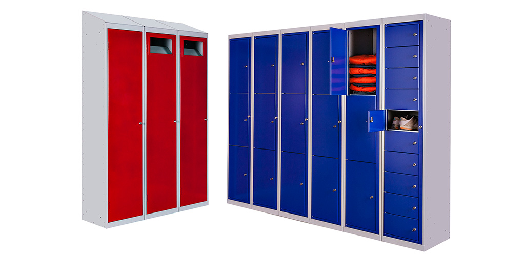 Garment Lockers in Cherry Red and Royal Blue